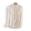 shirt White, beige M,L,XL Spring 2021 polyester fiber 96% and above Long sleeves commute Regular Single row multi button routine Solid color 25-29 years old Other / other Korean version HNJ2101