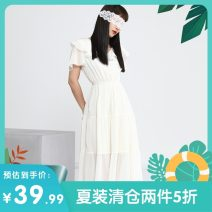 Dress Summer 2020 Off white, pink S,M,L singleton  Short sleeve commute V-neck Elastic waist Solid color Socket routine Others 25-29 years old Other / other Korean version LY2100 More than 95% other