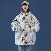 short coat Spring 2021 M L XL 2XL 3XL White blue Long sleeves routine routine singleton  easy Versatile routine Hood zipper Cartoon animation 18-24 years old Interesting 96% and above polyester fiber Polyester 100% Pure e-commerce (online only)