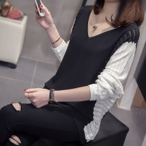 Women's large Spring of 2019 Light blue, black Knitwear / cardigan singleton  commute easy thin Socket Long sleeves Korean version V-neck routine acrylic fibres Collage Bat sleeve Other / other 18-24 years old Hollowing out