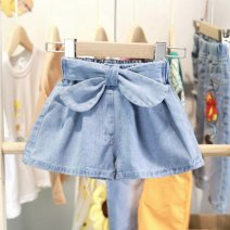 trousers Other / other female 90cm,100cm,110cm,120cm,130cm,140cm Blue denim summer shorts Korean version Jeans Leather belt middle-waisted Denim Don't open the crotch Other 100% Class B Chinese Mainland