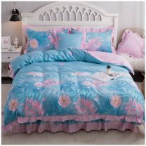 Bedding Set / four piece set / multi piece set cotton other Plants and flowers 133X76 Other / other cotton 4 pieces 40 Bedspread type Qualified products Simplicity 100% cotton twill Reactive Print  45C7E806 Thermal storage