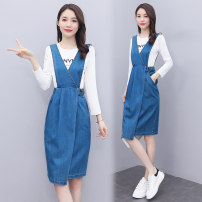 Dress Spring 2021 Picture color S,M,L,XL,2XL Mid length dress singleton  Sleeveless commute V-neck High waist Solid color other A-line skirt routine Others 18-24 years old Type A Korean version Buttons, pockets, straps 31% (inclusive) - 50% (inclusive) Denim cotton