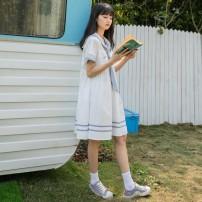 Dress Autumn 2020 White, light blue M,XL,L,S,2XL Short skirt singleton  Short sleeve Splicing J7hmk5ra