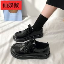 Low top shoes 35,36,37,38,39 Other / other Round head PU Flat bottom Low heel (1-3cm) Deep mouth PU Spring 2021 Frenulum Korean version Adhesive shoes Youth (18-40 years old) Solid color rubber Single shoes Cross strapping, platform PU office Face dressing