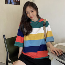Dress Summer 2020 Blue and white, blue and green M L Middle-skirt singleton  Short sleeve commute Crew neck middle-waisted stripe Socket routine 18-24 years old Man Yuemei Korean version printing xx#294 51% (inclusive) - 70% (inclusive) polyester fiber Exclusive payment of tmall