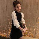 Dress Autumn of 2019 Skirt, top S,M,L,XL Mid length dress singleton  Long sleeves commute Crew neck High waist Solid color Socket A-line skirt other Others 18-24 years old Type A Korean version Splicing 71% (inclusive) - 80% (inclusive)