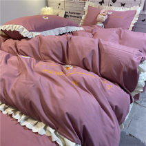 Bedding Set / four piece set / multi piece set Polyester (polyester fiber) Quilting Plants and flowers 128x70 Other / other Polyester (polyester fiber) 4 pieces other Bed sheet, bed skirt Qualified products Korean style Reactive Print  other