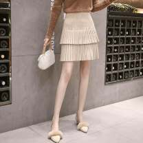 skirt Autumn 2020 Short skirt commute High waist Pleated skirt Solid color Type A 25-29 years old 51% (inclusive) - 70% (inclusive) knitting Other / other cotton Lotus leaf edge Korean version