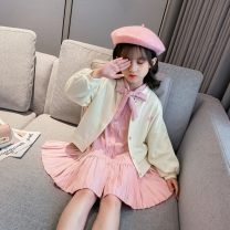 suit Wheat deer Pink Blue 110cm 120cm 130cm 140cm 150cm 160cm female spring and autumn Korean version Long sleeve + skirt 2 pieces routine There are models in the real shooting Single breasted nothing Solid color cotton children Giving presents at school XML-   Q2DTXY02 Class B Autumn 2020