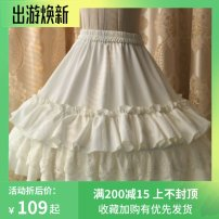 skirt Spring 2017 62cm long, 46cm short White, black Middle-skirt Sweet Natural waist A-line skirt Solid color Type A 18-24 years old Fishbone skirt 31% (inclusive) - 50% (inclusive) other Ruffles, pleats, fungus, printing Lolita