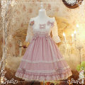 Dress Summer of 2019 Pink Purple S. M, l, small items are purchased separately Mid length dress singleton  three quarter sleeve Sweet One word collar middle-waisted Decor zipper Cake skirt Flying sleeve Others 18-24 years old Type A 81% (inclusive) - 90% (inclusive) Chiffon Lolita