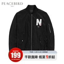 Jacket Peacebird Fashion City black S M L XL XXL XXXL XXXXL routine standard Other leisure spring B1BC81403-470946 Polyester 100% Long sleeves Wear out Baseball collar tide youth routine Zipper placket Rib hem Embroidery Closing sleeve Spring of 2019 Rib bottom pendulum Cover patch bag