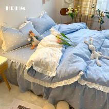 Bedding Set / four piece set / multi piece set cotton other heart-shaped 133x72 HRHM cotton 4 pieces 40 Lemon yellow, sky blue, mint green, sapphire blue, gaoguizi, peach powder, vitamin C orange, rouge jade 1.5m bed cover is 200x230cm, 1.8m bed cover is 200x230cm Bed skirt Qualified products 100%
