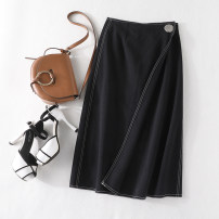 skirt Spring 2021 M, L black Mid length dress High waist A-line skirt Solid color XZ07142/M/0.325
