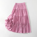 skirt Spring 2021 J Mid length dress High waist Pleated skirt Solid color Type A other other