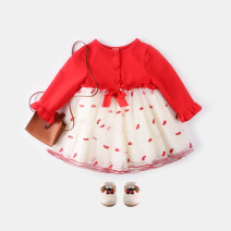 Dress gules female Other / other 73cm,80cm,90cm,100cm Cotton 95% polyurethane elastic fiber (spandex) 5% spring and autumn princess Long sleeves Broken flowers cotton Cake skirt Class A 3 months, 12 months, 6 months, 9 months, 18 months, 2 years old, 3 years old
