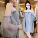 Dress Summer 2016 Gray, white, black S,M,L Short skirt singleton  Short sleeve commute One word collar Loose waist Solid color Socket other other Breast wrapping 18-24 years old Type H More than 95% polyester fiber