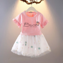 suit Other / other Star suit pink, star suit purple, star suit white M(90cm),L(100cm),XL(110cm),XXL(120cm),3XL(130cm) female summer princess Short sleeve + skirt 2 pieces Thin money No model Socket nothing Dot cotton elder Expression of love Class B Cotton 95% polyurethane elastic fiber (spandex) 5%