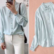 shirt Light blue for illustration only 7 / domestic S-L, 9 / domestic l-xl, 11 / domestic 2xl-3xl, 13 / domestic 3xl-4xl, 160cm60 wear 9, bust 94 wear 9 Summer 2020 cotton 96% and above Long sleeves Medium length stand collar Single row multi button Petal sleeve Solid color Button, tie, tie