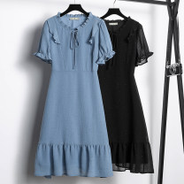 Women's large Summer 2021 Black, blue Large L, large XL, 2XL, 3XL, 4XL, 5XL Dress singleton  commute Self cultivation moderate Socket Short sleeve Solid color Korean version Crew neck routine Three dimensional cutting routine 30-34 years old Three dimensional decoration Middle-skirt