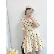 Dress Summer 2021 Apricot spot S, M Mid length dress singleton  Short sleeve commute V-neck High waist Dot zipper A-line skirt routine Others 25-29 years old Type A Stitching, printing More than 95% other polyester fiber