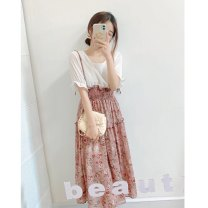 Dress Summer 2021 Picture Decor Average size Mid length dress Fake two pieces Short sleeve commute Crew neck Loose waist Decor Socket A-line skirt routine Others 25-29 years old Type A Patch, splice 51% (inclusive) - 70% (inclusive) Chiffon polyester fiber