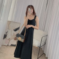 Dress Summer 2021 black S, M Mid length dress singleton  Sleeveless commute V-neck High waist Solid color A-line skirt camisole Type A 21410W-LYQ1231H More than 95% other