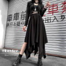 skirt Summer 2020 Average size black Mid length dress commute High waist Irregular Solid color Type A 18-24 years old 31% (inclusive) - 50% (inclusive) polyester fiber Asymmetry Korean version