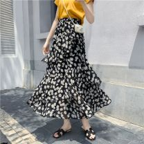 skirt Spring 2021 S suits 80-100kg, m suits 100-115kg, l suits 115-125kg, XL suits 125-140kg Color 6 ~ white chrysanthemum on green background-b1f, color 9 ~ yellow flower on green background-f0u, color 11 ~ white chrysanthemum on blue background-171 Mid length dress High waist Cake skirt 5279D5070