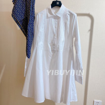 Dress Spring 2021 white 36,38,40 longuette singleton  Long sleeves commute Polo collar Loose waist Solid color Single breasted A-line skirt routine 25-29 years old Type A Button cotton