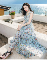 Dress Summer 2021 Picture color S,M,L longuette singleton  Sleeveless Sweet V-neck High waist Decor Socket Big swing other camisole 25-29 years old Type A printing More than 95% Chiffon Bohemia