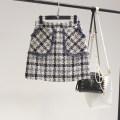skirt Autumn of 2019 M,L,XL,2XL,3XL,4XL Dark blue Beige lattice Short skirt Versatile Natural waist Irregular lattice Type H Wool