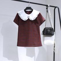 Lace / Chiffon Summer 2020 Brick red M,L,XL,2XL,3XL,4XL Short sleeve Original design singleton  Straight cylinder Regular lattice 71% (inclusive) - 80% (inclusive) cotton