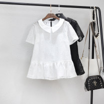 Lace / Chiffon Summer of 2018 White, black M,L,XL,2XL,3XL,4XL,5XL Short sleeve Versatile Socket singleton  Straight cylinder Regular other Solid color routine Hollowed out, pleated, lace 31% (inclusive) - 50% (inclusive) nylon