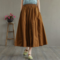 skirt Summer 2021 Mid length dress commute Natural waist A-line skirt Solid color Type A 30-34 years old fmq21051005 More than 95% other Flower concept other Pocket stitching literature Other 100% Average size