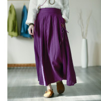 skirt Spring 2021 Average size violet , Peacock blue , Orange , black , Grass green longuette commute Natural waist A-line skirt Solid color Type A More than 95% hemp tassels , Embroidery , pocket Retro