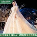 Wedding dress Spring 2021 Three piece set for all, three piece set for tailgating, 100 yuan for customer service XS,S,M,L,XL,XXL,XXXL,XXXXL Korean version Long tail Bandage Hotel Interior One shoulder Netting Three dimensional cutting Type D middle-waisted 18-25 years old Embroidery Sleeved shawl