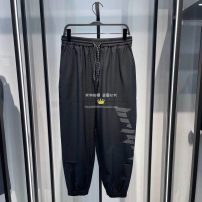 Casual pants Peacebird Fashion City Black b2gb1426 S,M,L,XL,2XL routine trousers Other leisure easy Micro bomb B2GBB1426 spring youth tide 2021 middle-waisted Little feet Sports pants printing Solid color