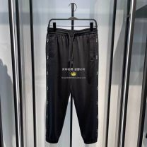 Casual pants Peacebird Youth fashion Black b1ghb2232 S,M,L,XL,2XL routine trousers Other leisure Self cultivation Micro bomb B1GHB2232 summer youth tide 2021 middle-waisted Little feet Sports pants No iron treatment Alphanumeric cotton cotton More than 95%