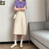 skirt Autumn 2020 S,M,L,XL Apricot, black, bluish grey longuette commute High waist A-line skirt Solid color Type A 18-24 years old N43434 31% (inclusive) - 50% (inclusive) other Other / other other