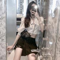 Fashion suit Summer 2020 S, M White shirt, black leg skirt 18-25 years old