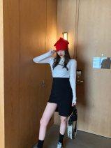 skirt Spring 2020 S, M black Short skirt High waist Irregular Solid color Type A 30% and below
