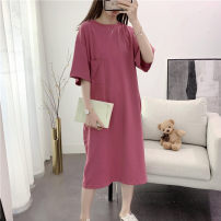 Dress Summer 2020 Rose Red Black M L XL 2XL longuette singleton  Short sleeve commute Crew neck Loose waist letter Socket other routine Others 18-24 years old Weimei (clothing) Korean version 51% (inclusive) - 70% (inclusive) other cotton Cotton 65% other 35% Pure e-commerce (online only)