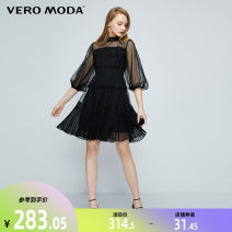 Dress Spring 2020 A06 honey milky white S59 black S97 Australian wood red 155/76A/XS 160/80A/S 165/84A/M 170/88A/L 175/92A/XL 180/96A/XXL Middle-skirt singleton  Short sleeve Sweet stand collar High waist Solid color Socket A-line skirt bishop sleeve Others 25-29 years old Type A Vero Moda Lace other