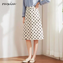 skirt Spring of 2019 S / 26 1'9, M / 27 2's, L / 28 2'1, XL / 29 2'2, XXL / 30 2'3 Black (wavelet point) 61, apricot (wavelet point) 9D, black (big wave point) 49, apricot (big wave point) 2F longuette commute High waist A-line skirt Dot Type A 25-29 years old 0B5328880 30% and below Other / other