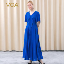 Dress Spring 2021 Huanxi yarn - Royal Blue (A24) 155/S 160/M 165/L 170/XL 175/XXL 180/3XL longuette singleton  Short sleeve street V-neck High waist Solid color Socket Big swing Flying sleeve Others 30-34 years old Type A VOA Pleated three dimensional decorative gauze AE705 More than 95% Chiffon silk