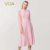 Dress Autumn 2015 Streamer white (02) streamer light powder (F21) 155/S 160/M 165/L 170/XL 175/XXL 180/3XL 185/4XL Mid length dress singleton  Long sleeves commute Half high collar middle-waisted Solid color Socket A-line skirt puff sleeve Others 30-34 years old Type X VOA Simplicity A6325 brocade