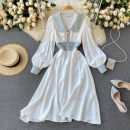 Dress Spring 2021 white M,L,XL,2XL Middle-skirt singleton  Long sleeves commute V-neck High waist Solid color Socket A-line skirt puff sleeve Others 18-24 years old Type A Korean version 31% (inclusive) - 50% (inclusive) other other