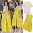 Dress Other / other Yellow two-piece set, black two-piece set M,L,XL,XXL Korean version Short sleeve Medium length summer Crew neck Solid color Pure cotton (95% and above)